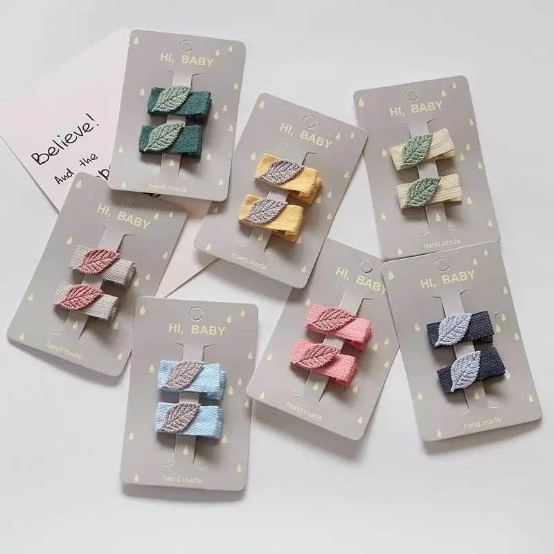 MIXIU 2pcs/set Leaf Shape Hair Clip Barrettes Cute Handmade Hairpin Colorful Hair Pin For Kids Girl Hair Accessories