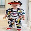 2016 bebê menino roupas de manga Longa Top + calça 2 pcs terno esporte roupa do bebê recém-nascido set roupa infantil bebe