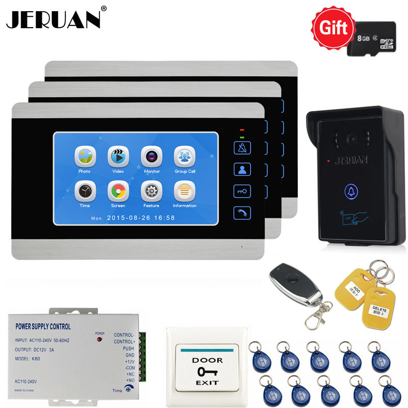 JERUAN Wired 7 Inch LCD Video Doorbell DoorPhone Unlock Intercom System kit Video Record Monitor Waterproof RFID Access Camera