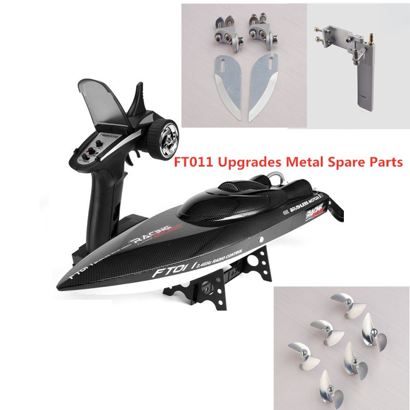 Feilun FT011 RC Racing Boat Metal Upgrades Parts Metal Tail Rudder Propeller Water Blades Within Screws Set Kit Spare Parts
