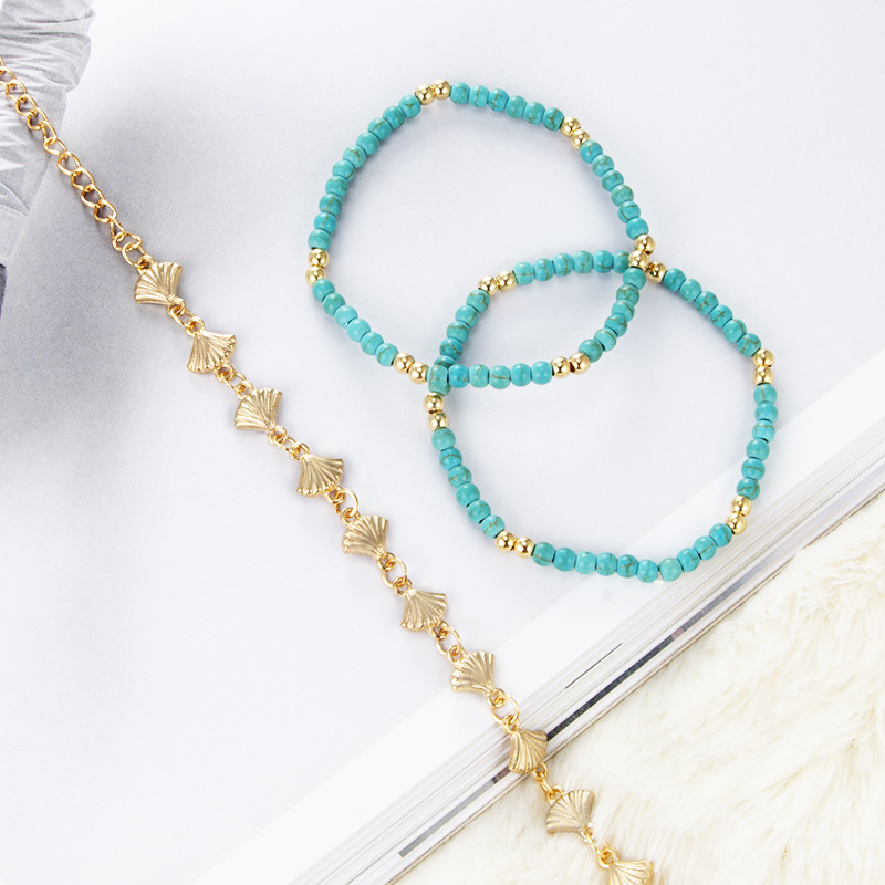 HuaTang Bohemian Blue Beaded Rope Chains Multilevel Anklet Set For Women Gold Leaves Adjustable Summer Anklets Jewelry 3258 in Anklets from Jewelry Accessories