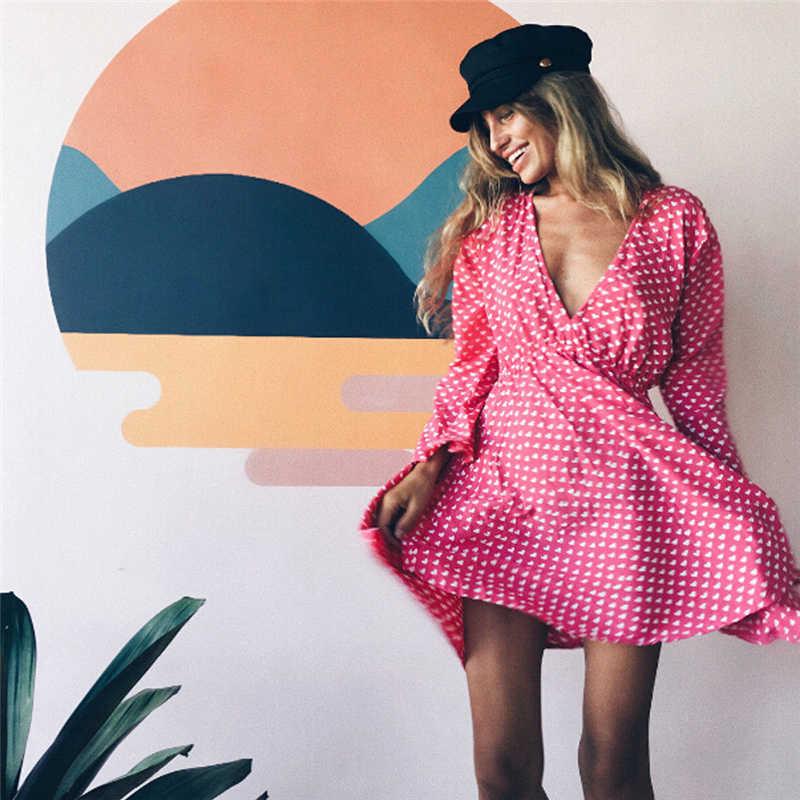 Sexy Damen Sommer V-ausschnitt Kleid Langarm Hohe Taille Weibliche Sommer Lässige Sommerkleid Minikleid