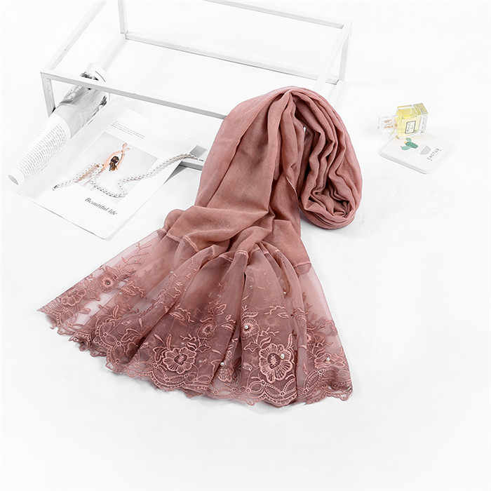 Бесплатная доставка, высококачественный хиджаб с кружевом, очень популярный кружевной боковой женский шарф-шаль, бусины, жемчужины