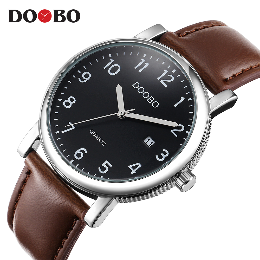 DOOBO Men Watch Luxury Brand Fashion Male Wristwatch 30M Waterproof Sport Watch Casual Genuine Leather Quartz Business Watches megir 2017 fashion creative sport waterproof quartz watch men casual leather brand wristwatch luminous stop wristwatch for male