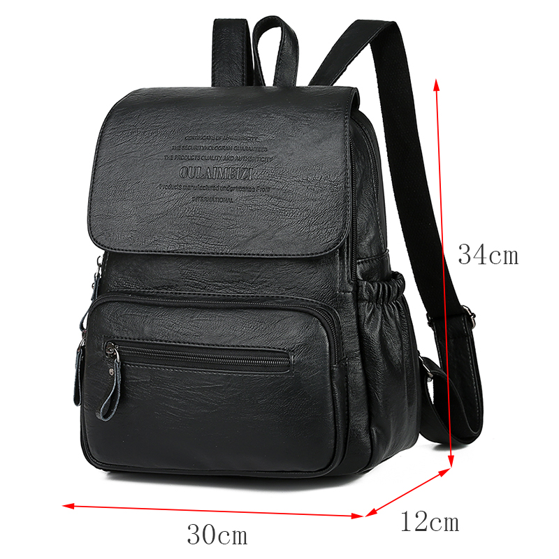 Image 4 - 2019 Women High Quality Leather Backpacks Female Shoulder Bag Sac a Dos Ladies Travel Bagpack Mochilas School Bags For Girls-in Backpacks from Luggage & Bags
