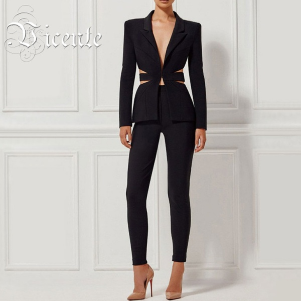 Free Shipping! Women Elegant Sexy Deep Vneck Blazer Cut Out Formal Pant Suits Sets Business Style HL2285