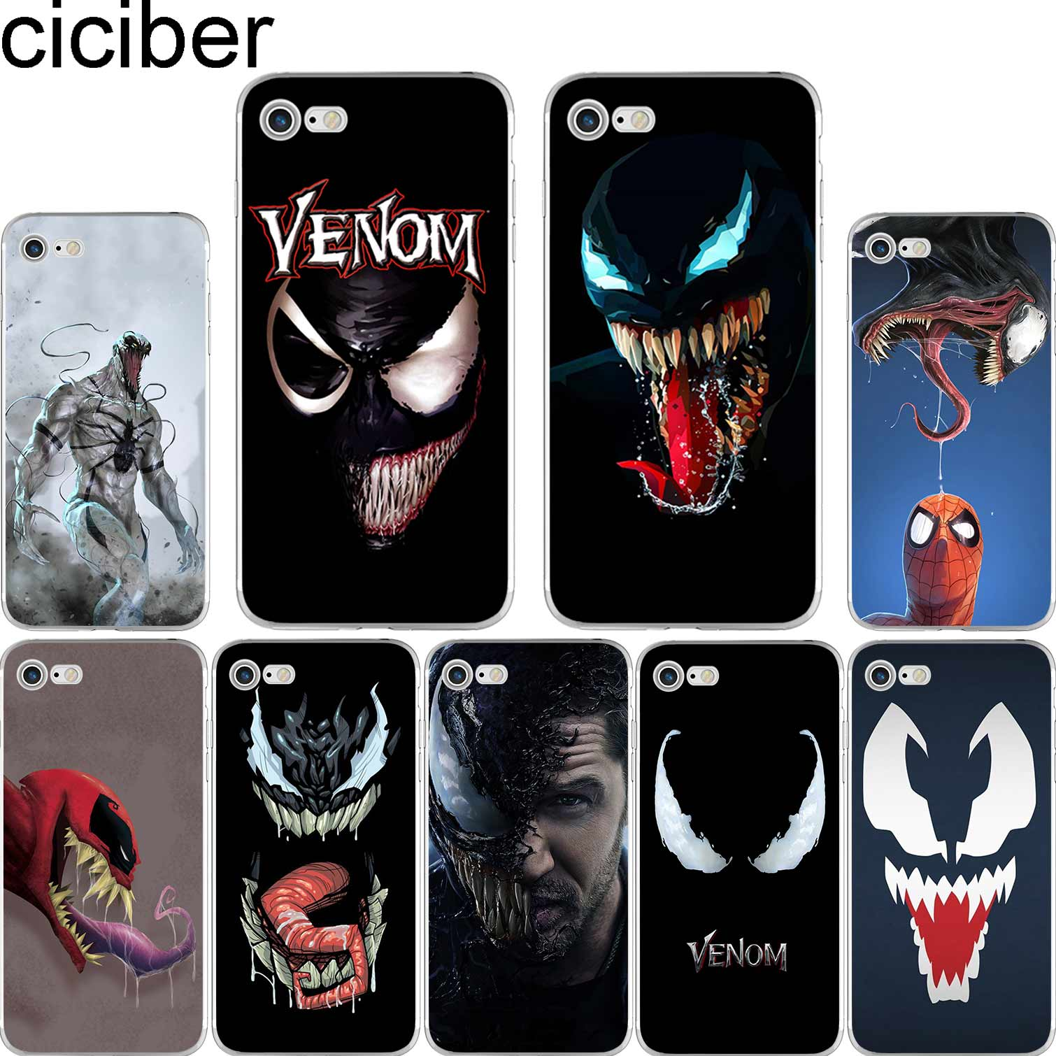 separation shoes c2171 aedd5 ciciber Villain Marvel Venom Soft Silicon Phone Cases Cover for IPhone 6 6S  7 8 Plus 5S SE X XS XR Mas Capinha Fundas Capa