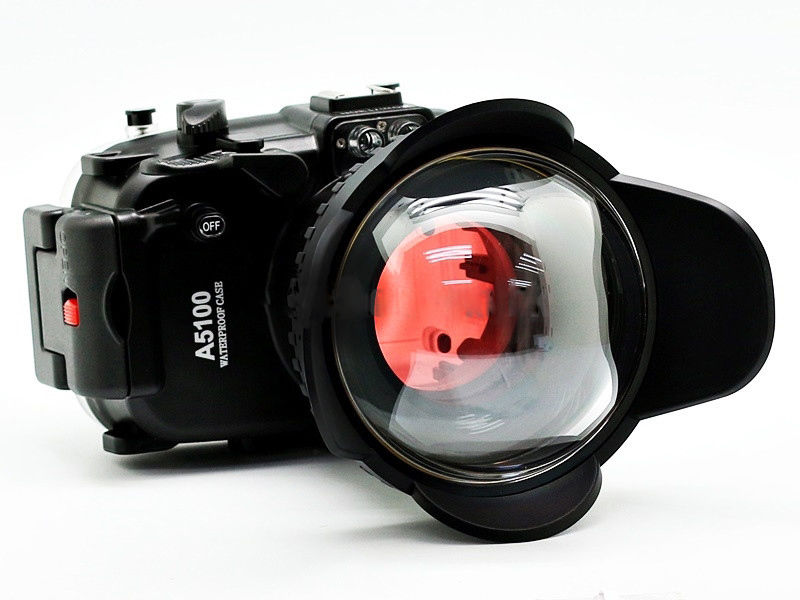 for Sony A5100 16-50mm 130ft Waterproof Housing Case + Fisheye Wide Angle lens and Red Diving Filter 67mm 40m 130ft waterproof underwater diving camera housing case for sony a5000 16 50mm lens