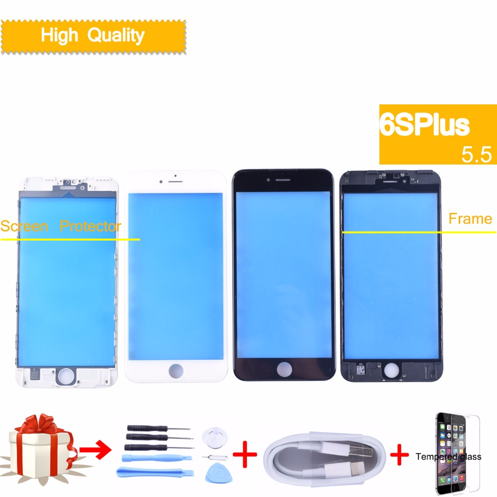 For iPhone 6S plus Touch Screen Digitizer GLASS Lens panel Front LCD with frame bezel for iphone 6S plus External LCD glass image