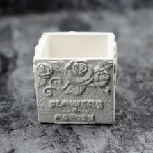 Nicole Silicone Cement Mold for Flowerpot Square with Flower Pattern Handmade Concrete Mould цена