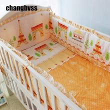 100% Cotton Fairy Tale World Design Baby Crib Bedding Set 7PCS Newborn Baby Cot Bedding Set 120*60CM Crib Bed Linen Kit