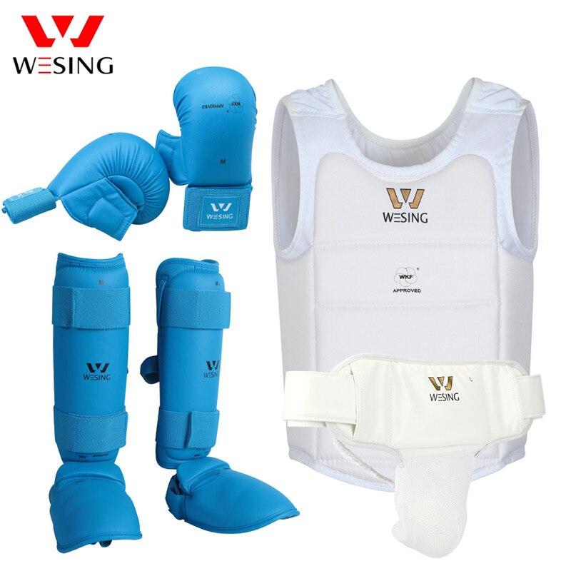 Wesing Karaté De Protection Gears Set pour Formation Concours soit Approuvé par WKF Poitrine Garde Gants De Karaté Shin Garde de L'aine Hommes Femmes