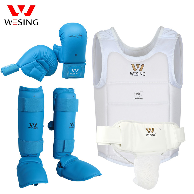 Wesing Karate Protective Gears Set for Training Competition Approved by WKF Chest Guard Karate Gloves Shin Groin Guard Men Women