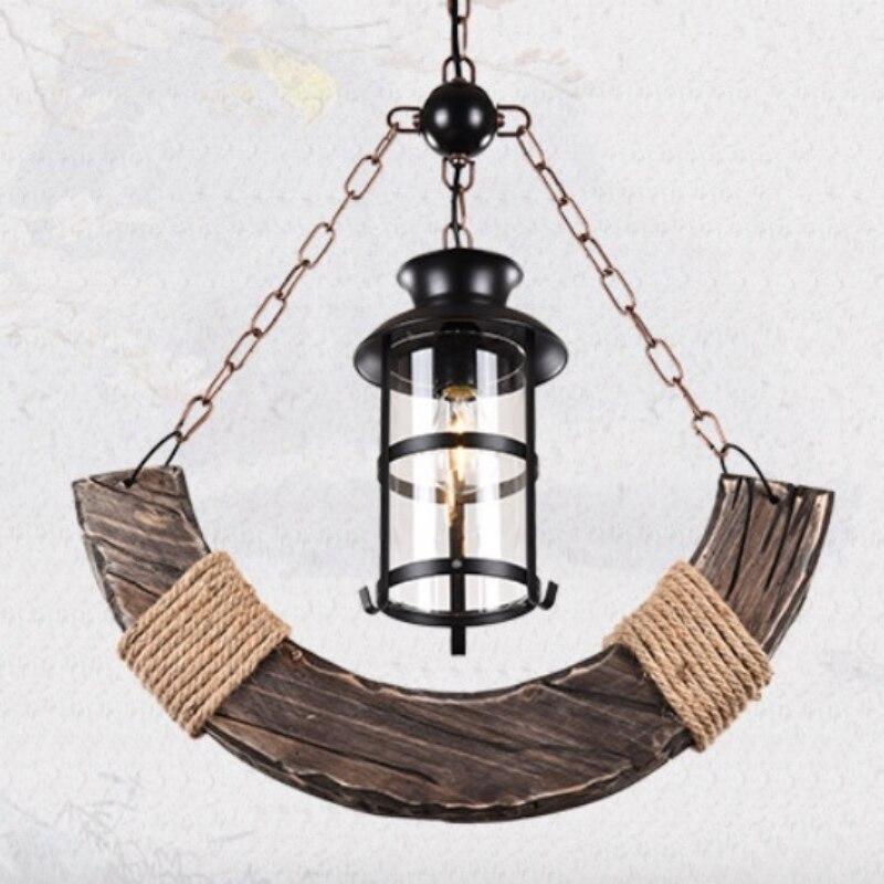 Retro Vintage Creative Wood Anchors Iron Led E27 Chain Pendant Lamp for Living Room Aisle Restaurant Decor Light AC 80-265V 1688