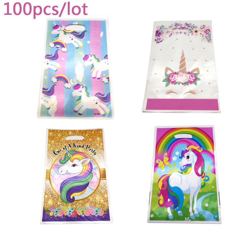 Wholesale 7 Design Cute Unicorn Decorations Happy Birthday Party Plastic Gifts Bags Baby Shower Girls Favors Loot 100PCS