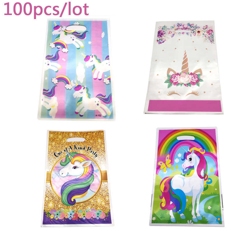 Wholesale 7 Design Cute Unicorn Decorations Happy Birthday Party Plastic Gifts Bags Baby Shower Girls Favors