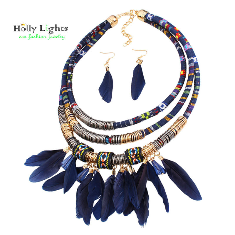 2017 women bohemian necklace&pendants black feather statemens