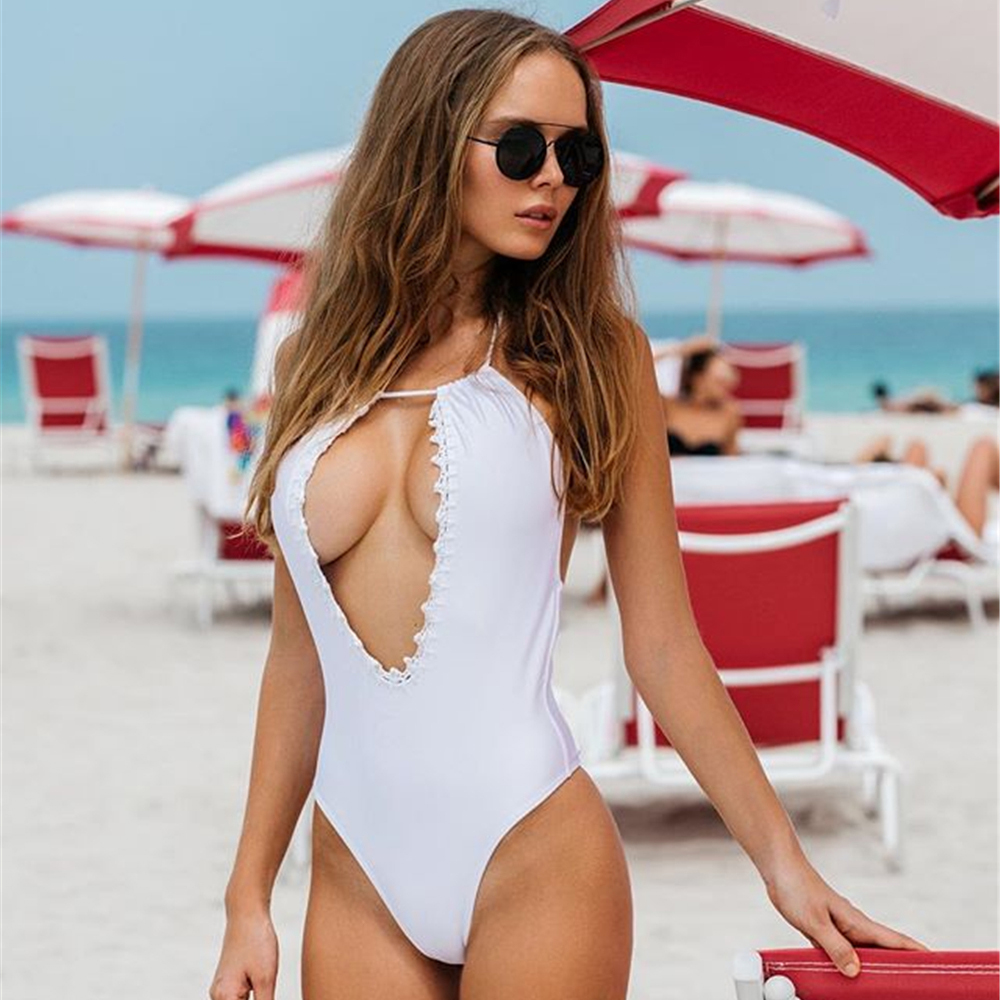 2018 One Piece Swimwear Women Sexy High Cut Swimsuit Backless Hollow Out Monokini Bathing Suit Bodysuit deep V Beach Wear women solid one piece swimsuit halter backless bandage bodysuit monokini deep v neck sexy high waist vintage beach wear page 3