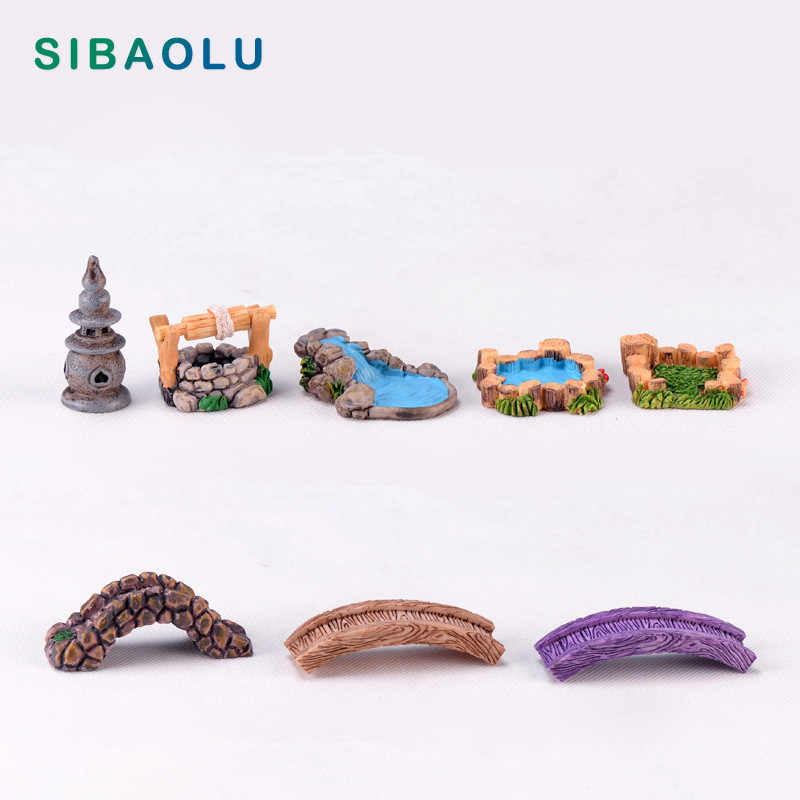 Micro Landscape Tower Bridge figurine Model Bonsai Resin Craft home decor miniature fairy garden decoration accessories modern