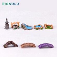 Micro Landscape Tower Bridge figurine Model Bonsai Resin Craft home decor miniature fairy garden decoration accessories modern