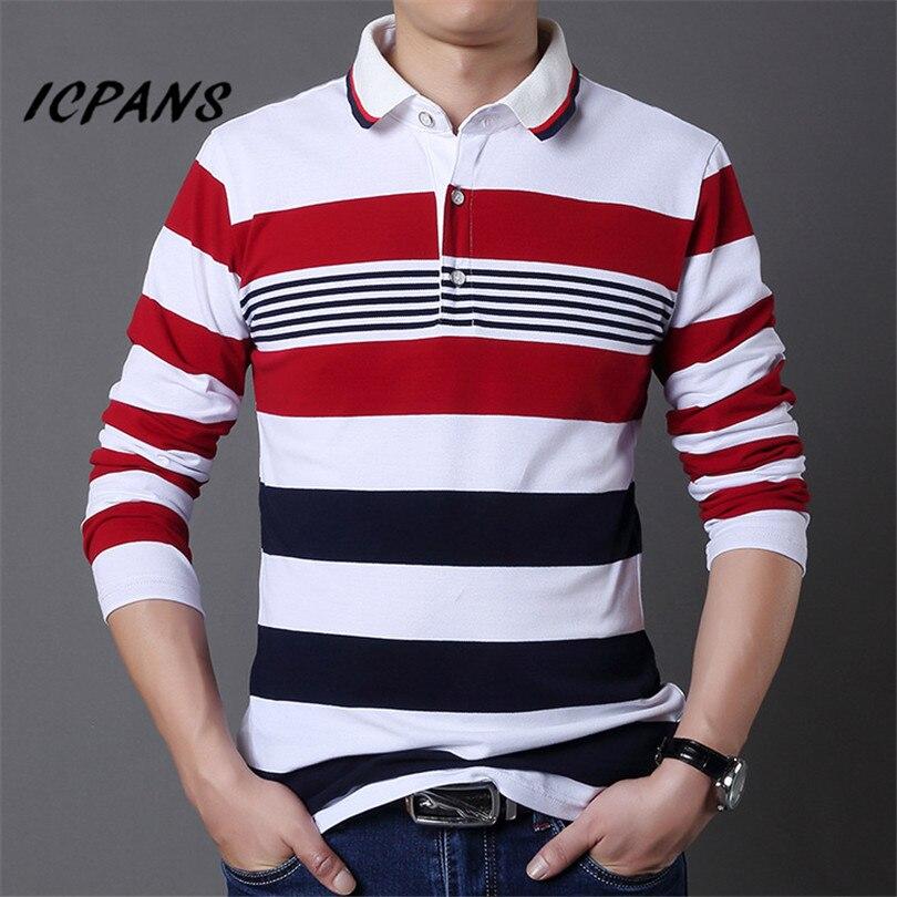 ICPANS Men   Polo   Shirt Striped Long Sleeve Slim Fit   Polo   Shirt Men Big Size 5XL Black Cotton Casual   Polo   Shirt For Men 2018 New