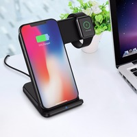 2 in 1 Wireless Charger For iPhoneX XR XS MAX Samsung S9 S8 Note9 8 Type C Fast Wireless Charging Stand For