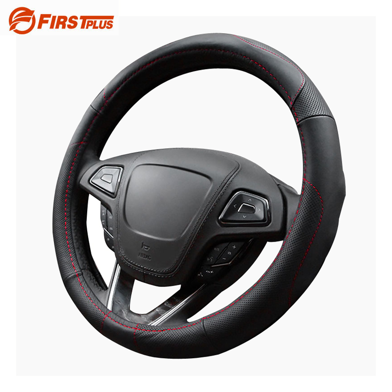 Genuine Leather Anti Slip Car Steering Wheel Cover Summer Covers Auto Styling Fashion Black Red Thread