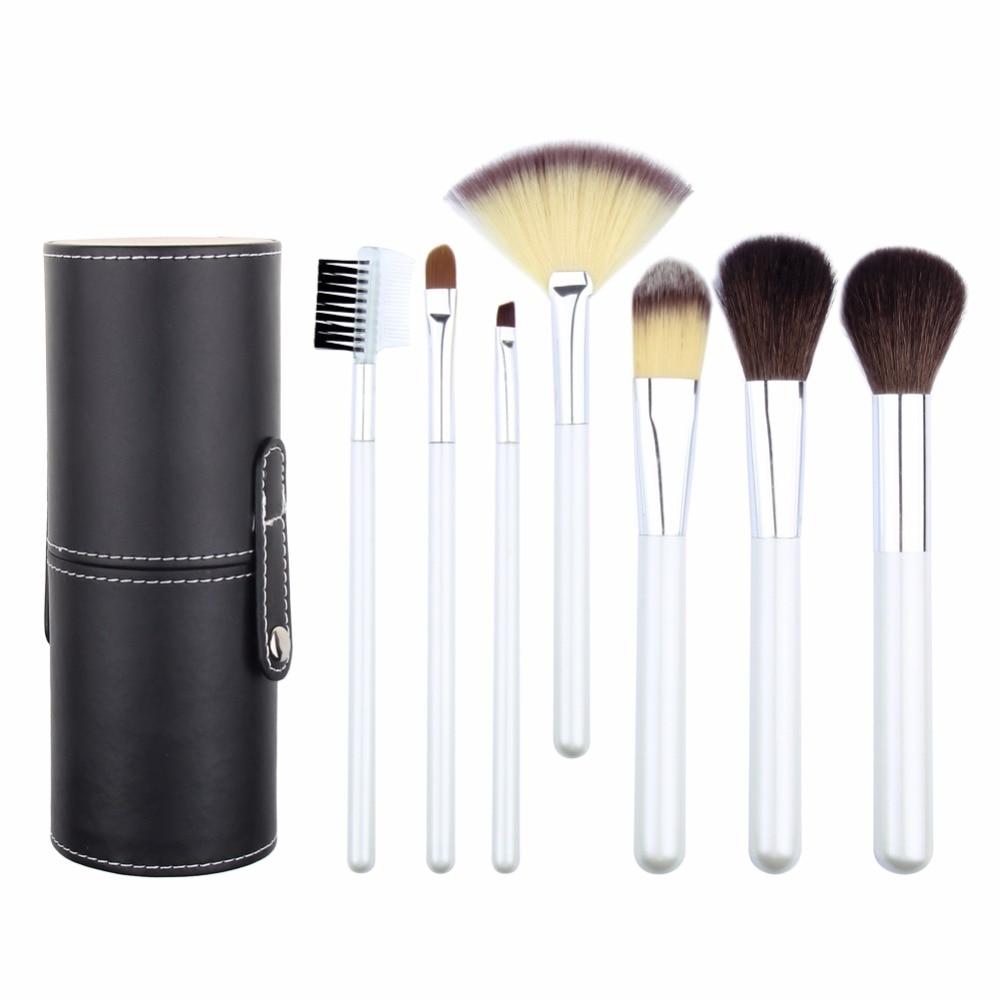 7Pcs/Set Makeup Brushes set Professional goat Hair Foundation Brush Wood Handle brush Kits PU Leather Cylinder Beauty tools 7 pcs goat hair facial makeup brushes set with brush holder