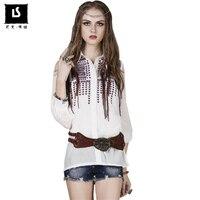 Spring Autumn Vintage Embroidery Cotton Silk Shirt women blouses Lantern sleeve women tops 2018 Casual femme Cardigan blouse