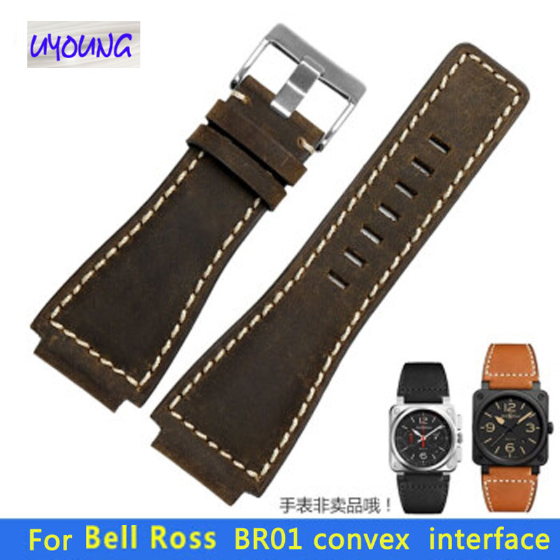 Silicone Watch Strap Fit For Bell Ross BR01 Waterproof Rubber Neck Scrub Leather Watch Strap 24mm Watchbands