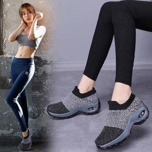 Image 4 - Tênis feminino, tênis meia preto plataforma macio confortável para moças sapatos para mulheres primavera 2019