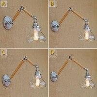 Swing Long Arm Retro Loft Industrial Vintage Wooden Wall Lamp Bedroom Luminaria Lamparas Applique Dining Restaurant Wall Sconce