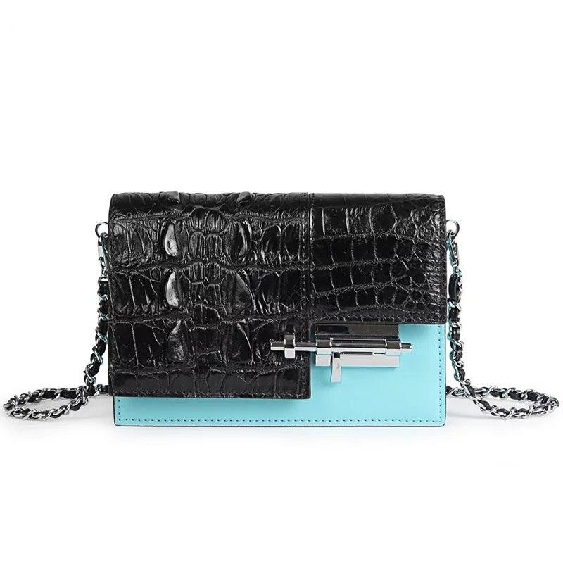 все цены на Mixing Color Designer Genuine Alligator Skin Female Small Flap Purse Crocodile Leather Ladies Shoulder Bag Girls Mini Street Bag онлайн