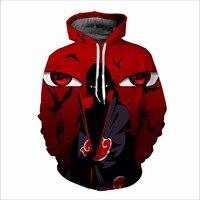 Brand New Unisex Casual Naruto Print Hoodies Anime Akatsuki Sect Loose Sweatshirt Men Uchiha Sasuke Cosplay