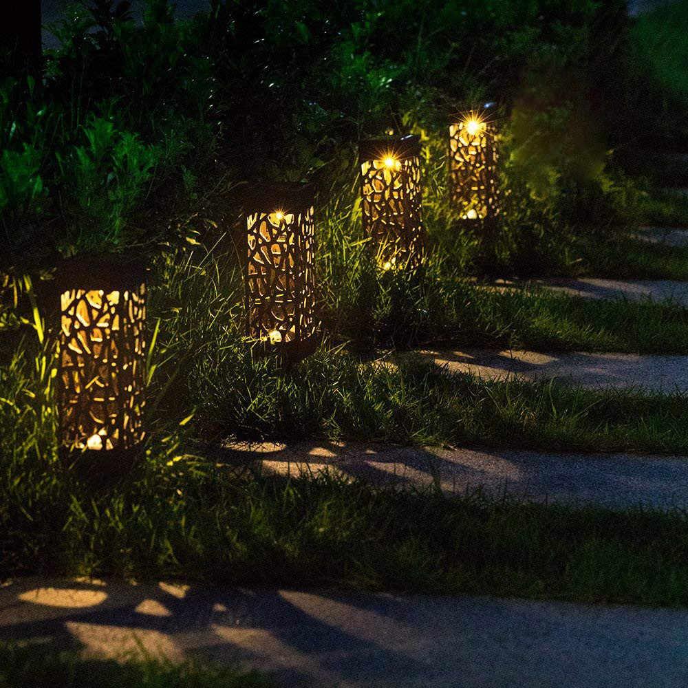 Đèn LED Năng Lượng Mặt Trời Sân Vườn Bãi Cỏ Ánh Sáng Ngọn Lửa Phong Cảnh Đèn Pin Đèn Ngoài Trời Sân Sân Chống Nước Trắng Ấm # N