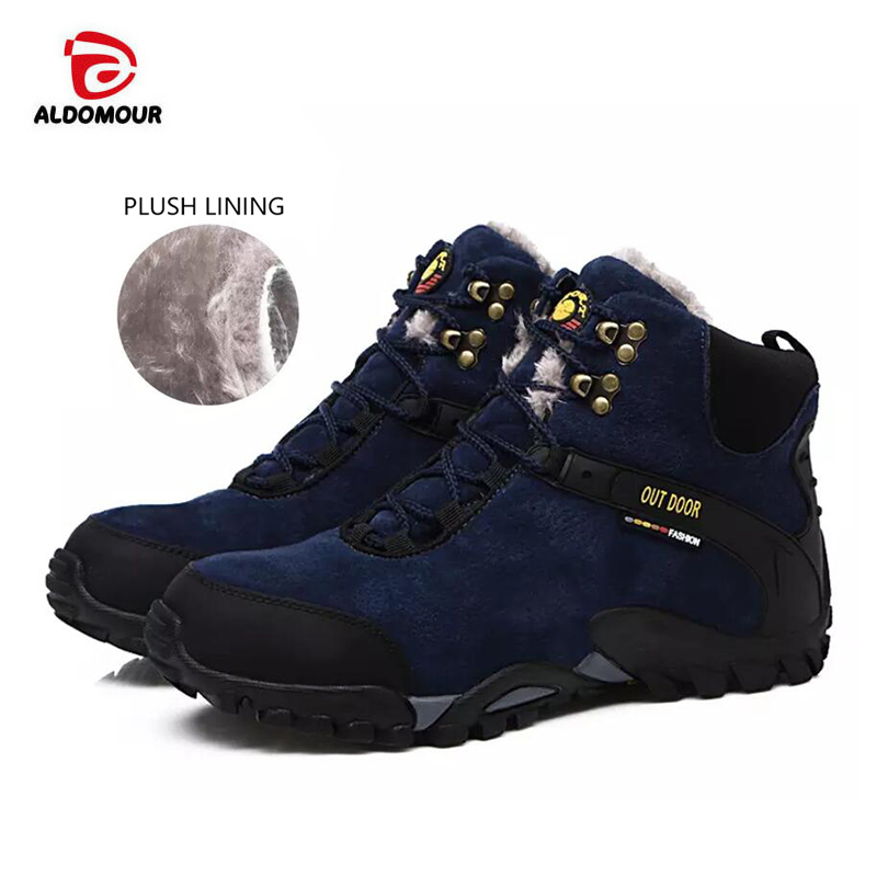 ALDOMOUR Men Shoes Moutain Trekking Anti-slip Climbing Shoes and Plush Lining Mountain Shoes Comfortable Warm Outdoor Sneakers