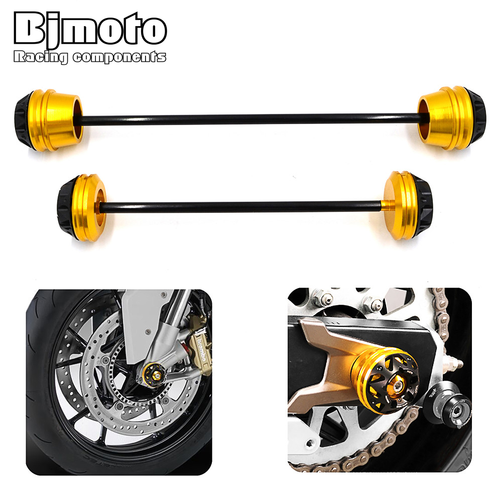 Bjmoto Motorcycle CNC Aluminum Rear Front Axle Fork Crash Sliders Wheel Protector For YAMAHA MT-07 MT07 2013 2014 2015 2016 2017