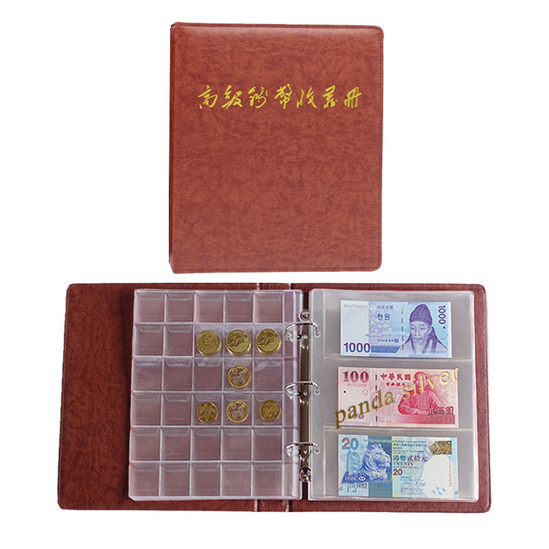 60 Pockets Paper Money Collection Album Leather Bill Notes Book Brown