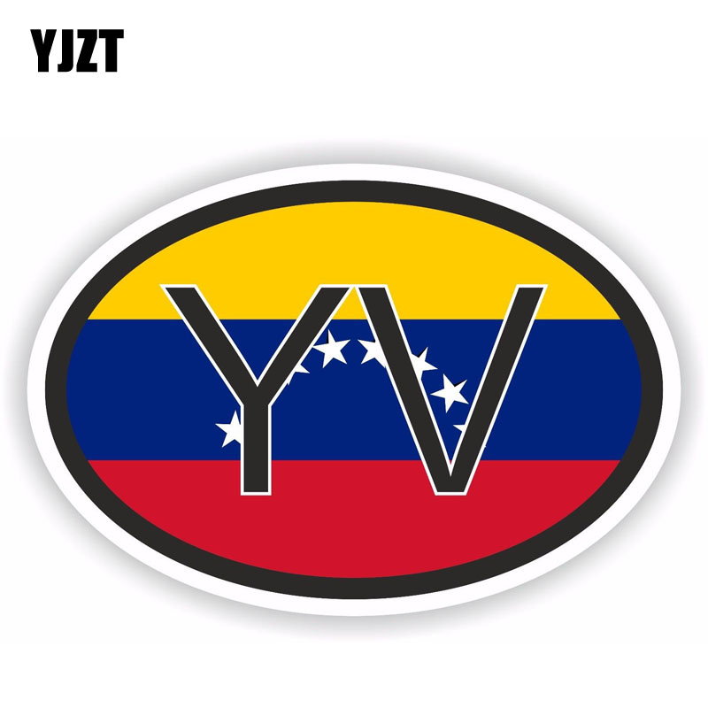 YJZT 13.8CM*9.3CM Personality Venezuela YV Country Code Flag Car Sticker PVC Decal 6-0944