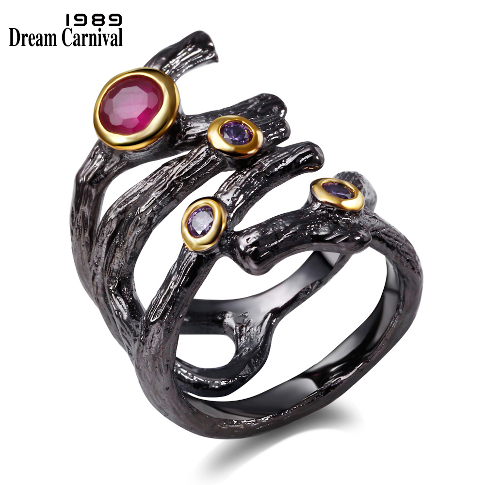 DreamCarnival 1989 Gothic Hollow Ring for Women Rolling Braided Jewelry Fuchsia Purple CZ Vintage Black Color anillos mujer R32 punk style pure color hollow out ring for women
