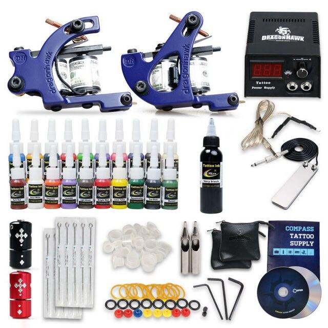 Popular Beginner Tattoo Kit Set 21Color Inks Power 2 GunsSMT20-2
