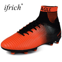 Ifrich New Arrival Men Sport Football Training Shoes Long Spikes Green Men Soccer Cleats Turf Football