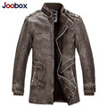 2016 Winter Motorcycle Leather Jacket Men's Parka Fashion Wool Liner Warm Mens PU Leather jackets and coats Grey Brown
