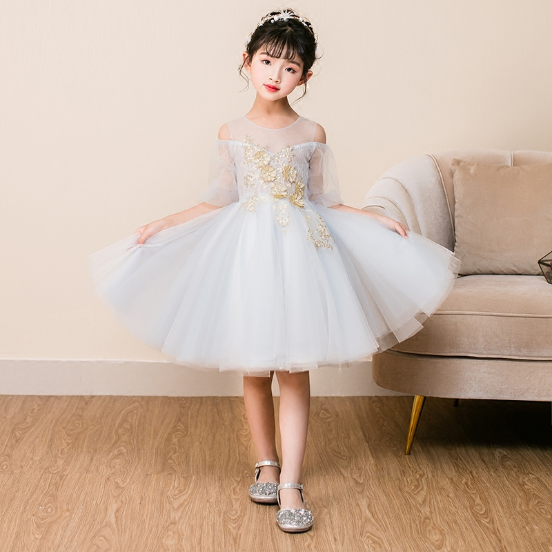 2018 autumn prom party princess flower girl dress wedding long formal children birthday dresses for girls kids yrs clothes quik lok lph001
