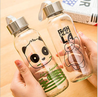 New Cute Cartoon Creative Glass Bottle Transparent Glass With Cover Cup Student Portable Cap Colorful Water