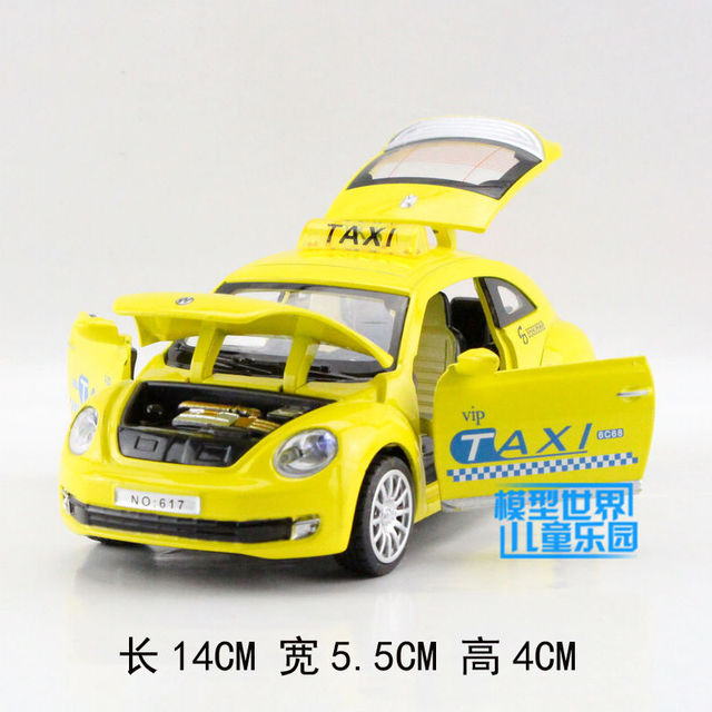Gift 14cm 1:32 Volkswagen Beatles TAXI car funny alloy model acousto-optic pull back collection game boy children toy
