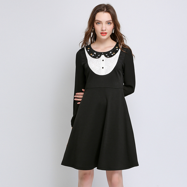 Women Autumn Black Peter Pan Collar Long Sleeve Lace Dress Plus Size ...