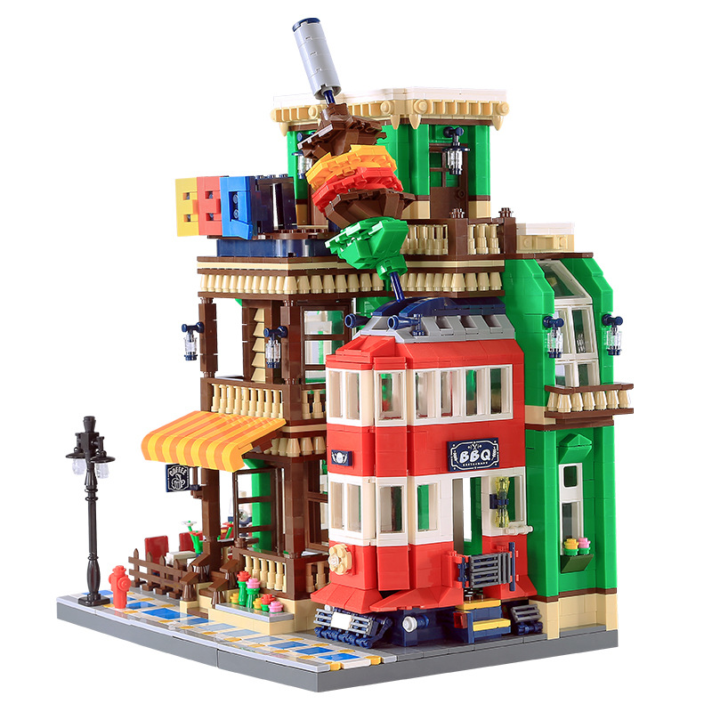 New wange 6313 ideas series the BBQ Restaurant Model Building Blocks Compatible legoing Classic Architecture Toys