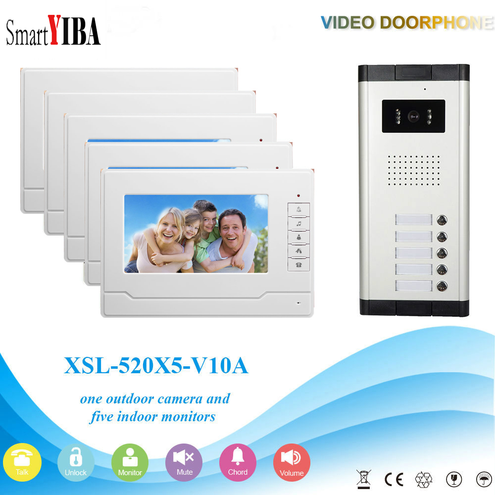цены SmartYIBA Video Intercom 7''Inch Wired Color Video Door Phone Video Doorbell Phone Intercom System Kit 5 monitors+1 IR camera