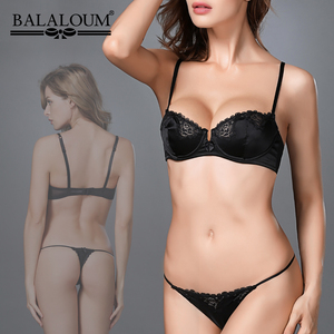 Image 5 - BALALOUM Women Bra Sexy Floral Lace Transparent Ultra Thin Bowknot Brassiere Push Up Demi Cup Lingerie Underwear Black Red Pink